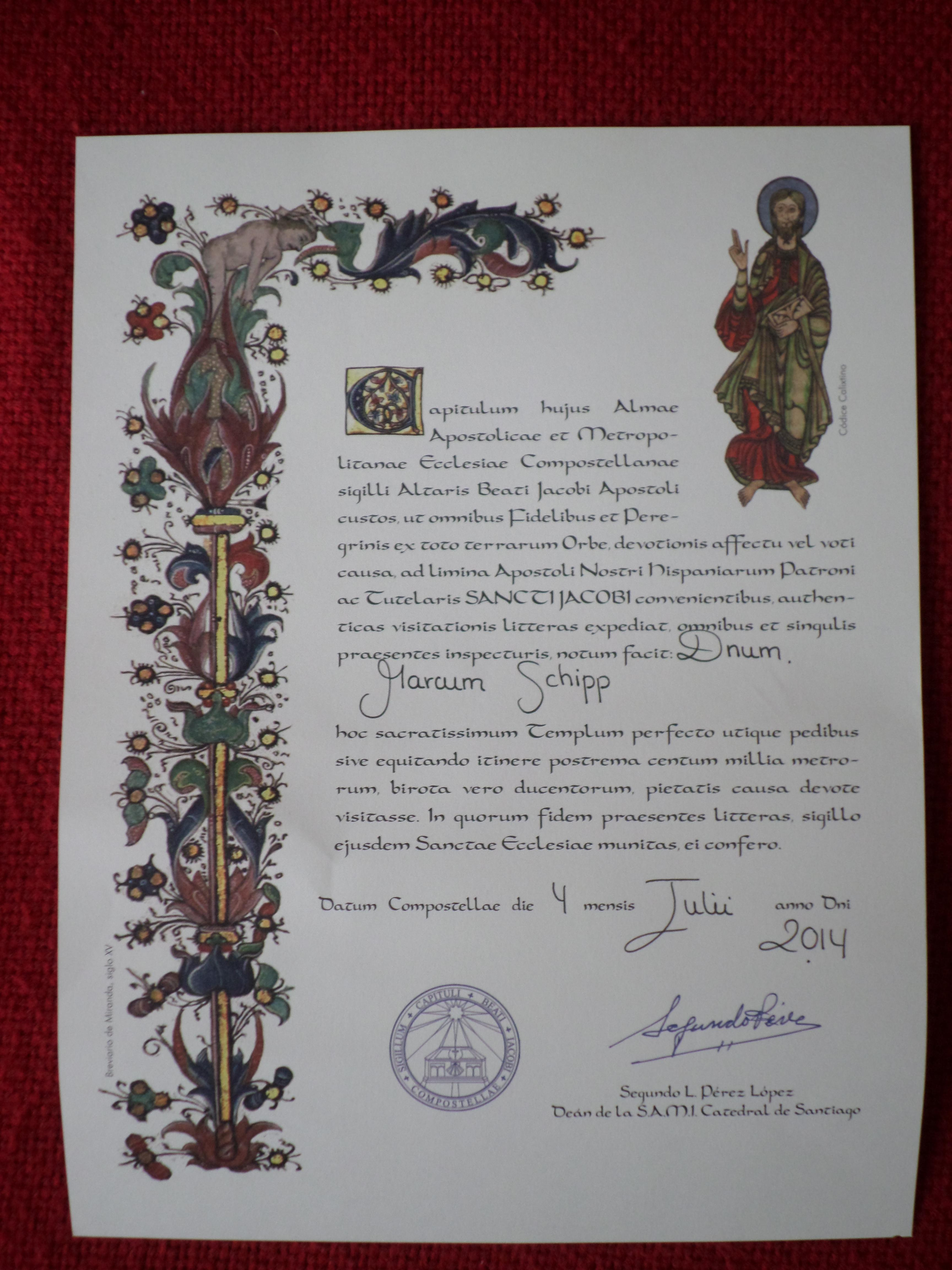 Photo of a compostela certificate